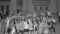 Business and pleasure: Members of BBYO group in front of the Metropolitan Museum.
