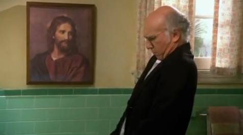 """David in mid-stream during last week's episode of """"Curb Your Enthusiasm."""""""