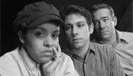 """Priscilla Flores, left, Jared Mezzochi and Ben Jaeger-Thomas act in Misha Shulman's """"The Fake History of George the Last"""""""