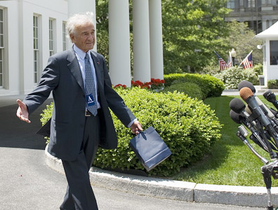 Elie Wiesel leaves White House on Tuesday. Photo: Getty Images