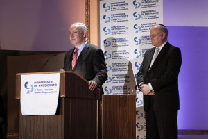 Prime Minister Benjamin Netanyahu and Presidents Conference executive vice-chair Malcolm Hoenlein