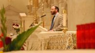 Rabbi Jeremy Kalmanofsky of Ansche Chesed speaks Sunday at St. Peter's Church near Ground Zero.