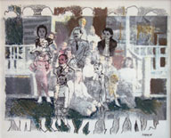 MIRIAM STERN. On the Porch, 1991, mixed media, 14x17.