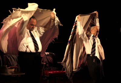 "Two real-life Conservative rabbis from Queens, Hyman Levine and Moses Birnbaum, in a scene from ""Rabbi Rabino."""