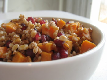 Wheatberry, Sweet Potato and Pomegranate Salad. Photo by Amy Spiro