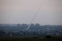 Rocket attacks like this one on April 9, seen from the Israeli side of the Gaza border. Getty images