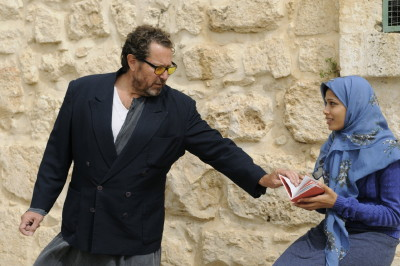 """Julian Schnabel with Freida Pinto during the making of """"Miral."""""""