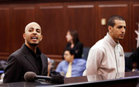 Terror suspects Ahmed Ferhani, left, and Mohammed Mamdouh during their arraignment Thursday in Manhattan Criminal Court.