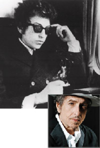 "How many roads: Dylan, then, in the 1967 documentary ""Don't Look Back,"" and now."