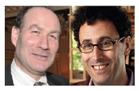 Two Jewish worldviews collide: Jeffrey Wiesenfeld, left, and Tony Kushner.