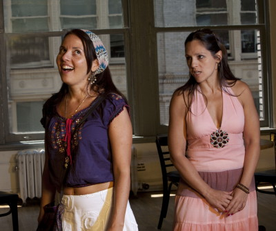 "Ydaiber Orozco and Mariana Parma as sisters in ""Memory is a Culinary Affair."""