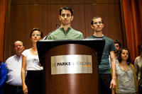 Free at last: Josh Fattal, center, one of three American hikers freed last week from captivity in Iran. getty images