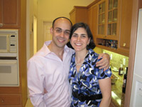 The greater Jewish community joined Matt Fenster (above, with wife Jennifer) for minyans in the hospital.
