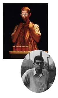 """Donnie Mather, above, in his one-man show """"Kaddish,"""" an homage to Beat poet Allen Ginsberg, right."""