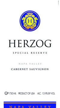 Herzog's Napa Valley Cabernet Sauvignon is full bodied and garnet colored.