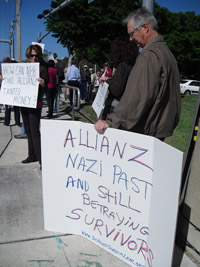 Survivors demonstrated in Feb. against Allianz at a golf tournament the German insurance giant sponsored in Boca Raton, Fla.