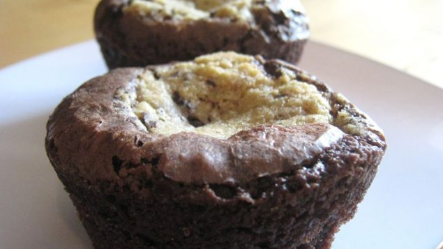 Cookie Dough-Filled Brownie Cups