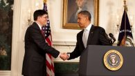 President Obama congratulates his new chief of staff, Jacob J. Lew on Monday.