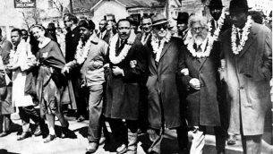 Prophetic voices: Martin Luther King Jr., left, and Abraham Joshua Heschel, right, during Selma march in 1965. Susannah Heschel