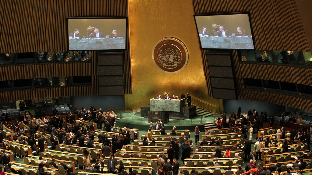 Decades of anti-Israel activity. The UN General Assembly (photo credit: CC BY linh.m.do, Flickr)
