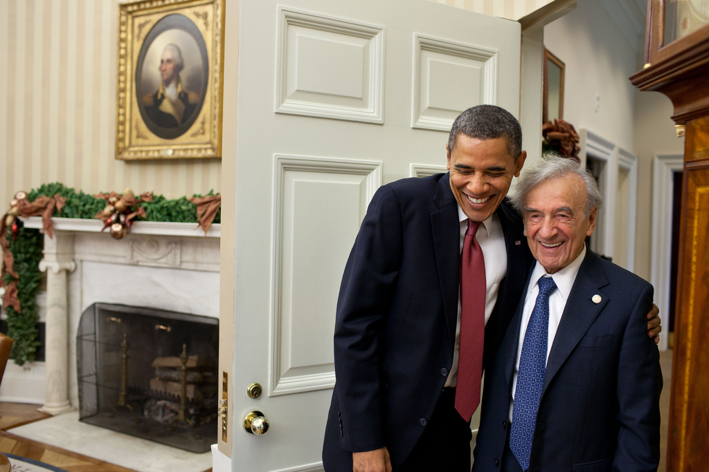 President Barack Obama greets Nobel Laureate and Holocaust survivor Elie Wiesel at the White House. (photo credit: Pete Souza,The White House, Flickr)