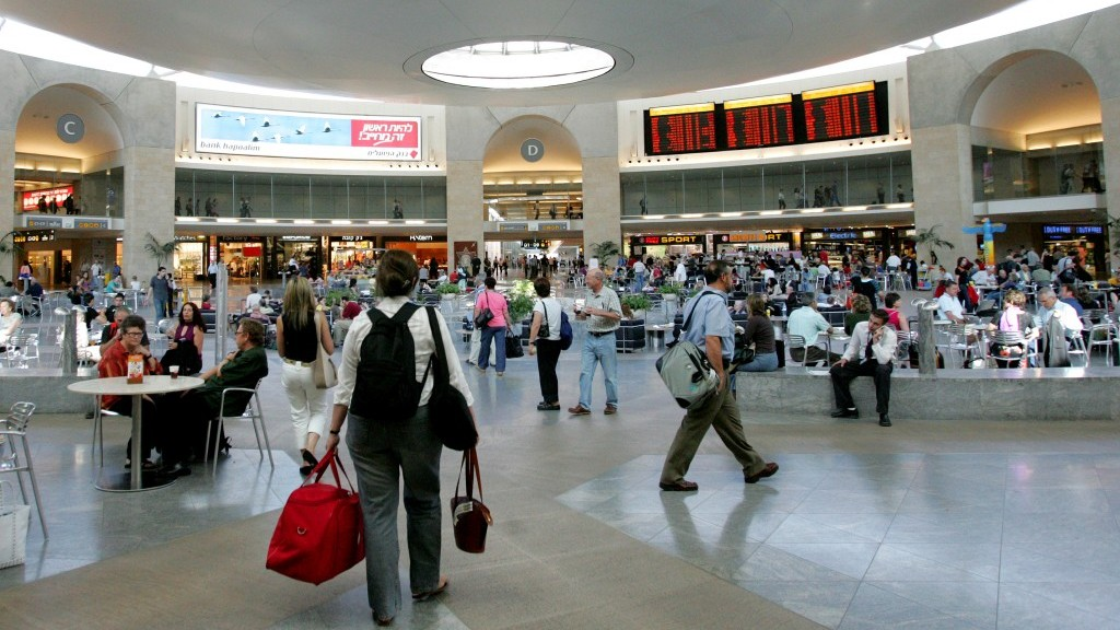 Ben Gurion airport's Duty-Free mall (photo credit: to by Moshe Shai/Flash90)