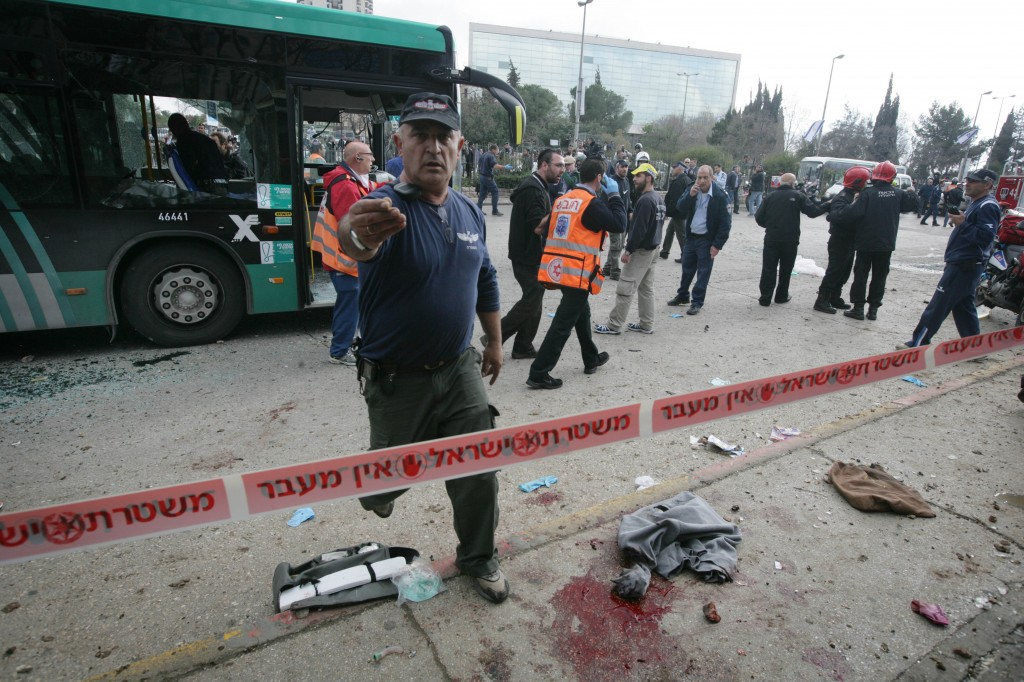 Blood stains are seen at the site of the explotion were a bomb exploded in a bus in the center of Jerusalem, injuring 25 people, in March 2011. (photo credit: Abir Sultan/Flash90)