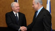 Robert Gates (left) with Benjamin Netanyahu in 2011 (photo credit: Amos Ben Gershom/GPO/Flash90)