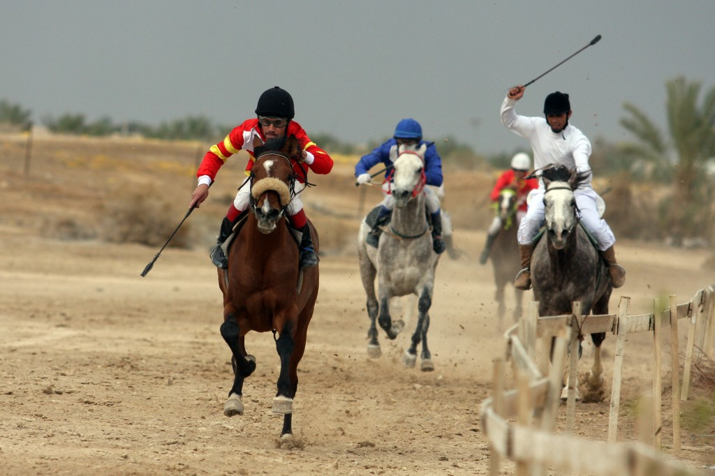 'Although Right of Return has been pulled from the race a number of times, it always manages to creep back in just after the starter's pistol is fired.' Palestinian jockeys in Jericho. (photo credit: Issam Rimawi/Flash90)