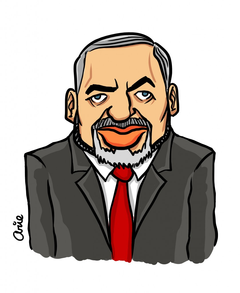 If calling for the transfer of Arabs makes Lieberman anti-Arab, why doesn't calling for the expulsion of Jews make someone anti-Jewish? (illustration: Arie Katz/The Times of Israel)