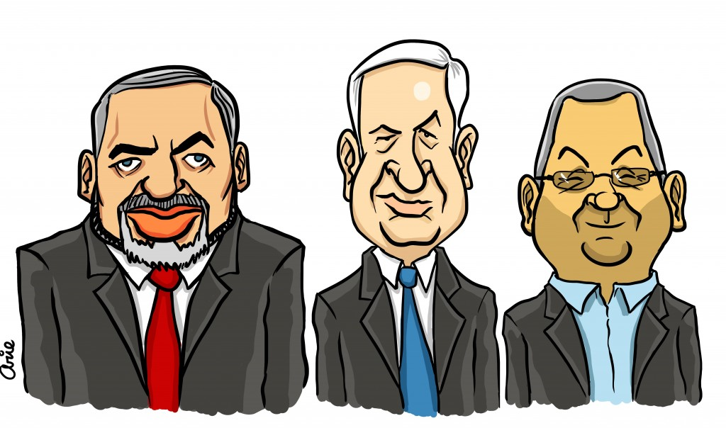 Will the real victims please stand up? Lieberman, Netanyahu and Barak (illustration: Arie Katz/The Times of Israel)
