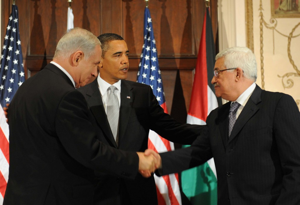 Can the president pull it off this time around? Netanyahu, Obama and Abbas during a meeting in New York in 2009 (photo credit: Avi Ohayon/GPO/Flash90)