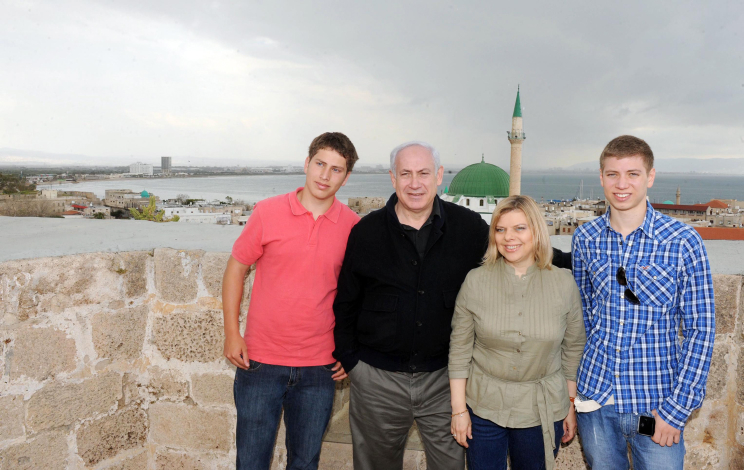 Family photo of the politician, married to Sara Netanyahu, famous for 9th Prime Minister of Israel.