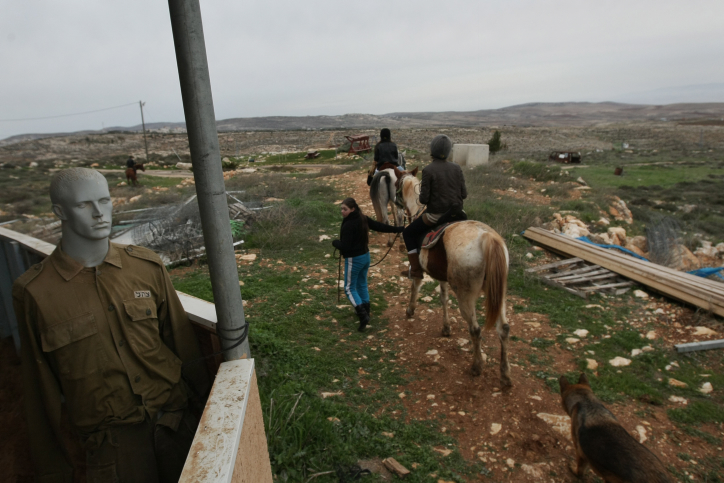 Horseback riding on the hilltop settlement of Migron (Photo credit: Kobi Gideon/ Flash 90)