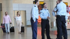 Security personnel at Ben-Gurion airport. Illustrative photo (photo credit: Meir Partush/Flash90)