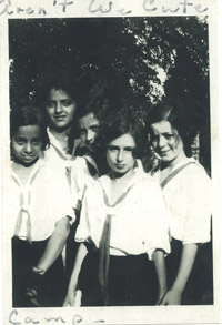 Photo from the early 1930s, 5 members of Mickve Israel cong. in Savannah, are photographed at Girl Scout camp. Henrietta Victor
