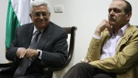 Mahmoud Abbas and Yasser Abed Rabbo (photo credit: Kobi Gideon/Flash90)