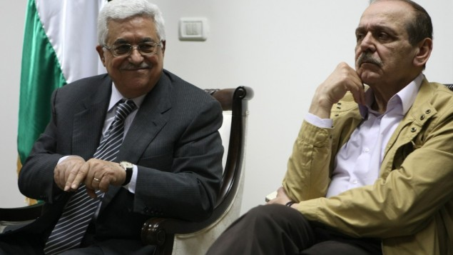 Mahmoud Abbas and Yasser Abed Rabbo in better days (photo credit: Kobi Gideon/Flash90)