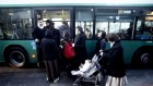 Orthodox women enter a gender-segregated bus through the back door (photo credit: Uri Lenz/Flash90)