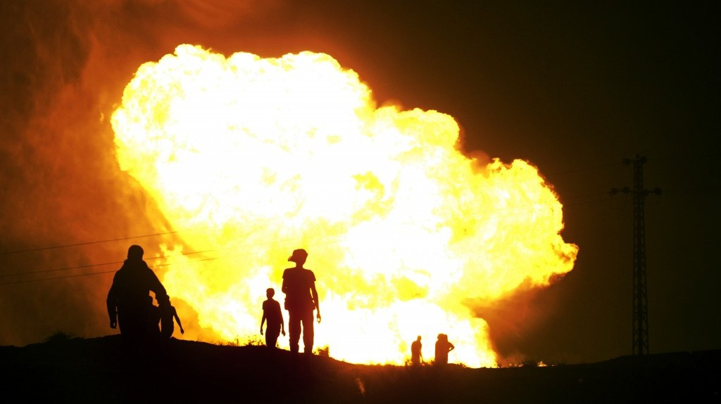 A symbol of a relationship going up in flames? A sabotaged gas pipeline burns in the Sinai earlier this month (photo credit: AP file)
