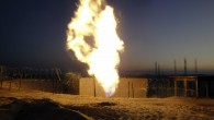Flames rise from a natural gas pipeline expl