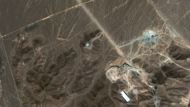 A satellite image of Iran&#039;s Fordo nuclear enrichment facility (photo credit: AP/DigitalGlobe)