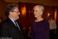 Cecile Richards, president of the Planned Parenthood Fed. of America with Rabbi Robert N. Levine of Cong. Rodeph Sholom.