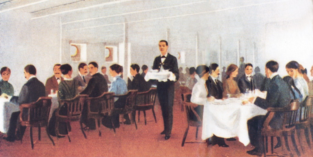 A color illustration of a portion of the third-class dining saloon on the Olympic and Titanic from a White Star Line publicity brochure. (photo credit: Titanic International Society Archives, Midland Park, N.J.)