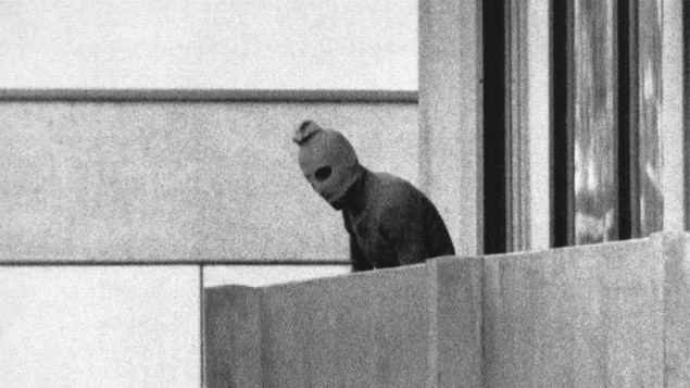 A member of the terrorist group Black September, which seized members of the Israeli Olympic team at their quarters during the 1972 Munich Olympics (photo credit: AP/Kurt Strumpf)