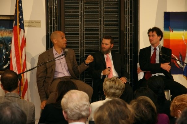 Rabbi Shmuley Boteach and New Jersey Mayor Corey Booker (left) in 2009. Booker is the former student president of Boteach's Oxford University L'Chaim Society. (Photo credit: Courtesy shmuley.com)