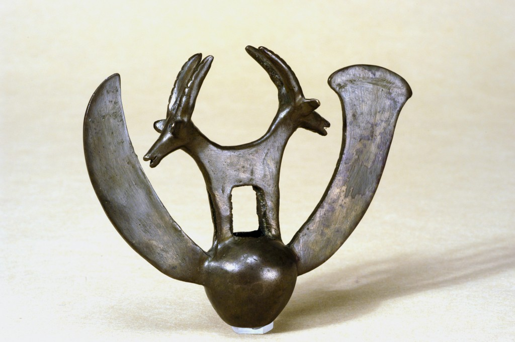 "In 1961, a group of archaeologists were looking for Dead Sea scrolls. Instead, they found the striking double ibex and the rest of the hoard now known as the ""Cave of Treasure."" (Courtesy of the Israel Museum)"
