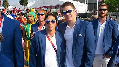 Israeli Swimmers Amit Ivri and Imri Ganiel enter the Olympic village (photo credit: courtesy of Israel Olympic Committee)