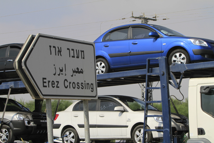 Cars transported into Gaza via the Erez crossing (photo credit: Tsafrir Abayov/Flash90)