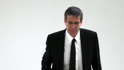 Jerusalem District Prosecutor Eli Abarbanel at the district court in Jerusalem, in December 2011. Abarbanel called for moral turpitude to be included in the verdict against former PM Ehud Olmert. (photo credit: Yossi Zamir/Flash 90)